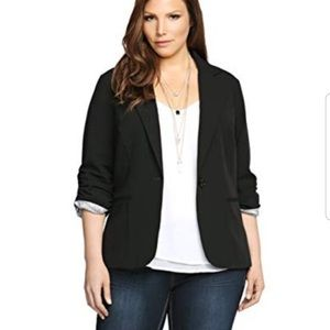 "TORRID   ""MADISON"" RUCHED SLEEVE LINED BLAZER"